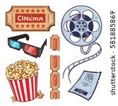 set of cinema  movies symbols ... | Shutterstock .eps vector #581885869