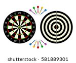 classic dart board front and... | Shutterstock .eps vector #581889301