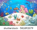 Cute Cartoon Mermaid Underwate...