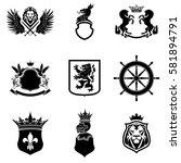mixed black silhouette heraldry ... | Shutterstock .eps vector #581894791