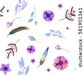seamless pattern with feathers  ... | Shutterstock . vector #581901361