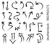 hand drawn arrows in black. ... | Shutterstock .eps vector #581902171