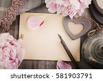 old blank paper background with ... | Shutterstock . vector #581903791