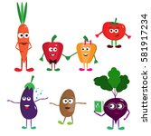 set of funny cartoon vegetables.... | Shutterstock .eps vector #581917234