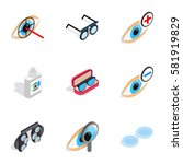healthy eyes icons set.... | Shutterstock .eps vector #581919829