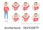 set of emotions and gestures to ... | Shutterstock .eps vector #581920879