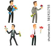 men give flowers  gifts and... | Shutterstock .eps vector #581921755