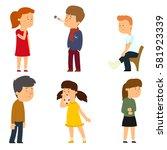 children get sick. boy has high ... | Shutterstock .eps vector #581923339