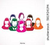 men and women working in a call ... | Shutterstock .eps vector #581924194