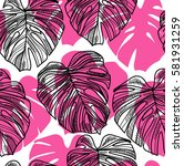 seamless pattern with leaves of ... | Shutterstock .eps vector #581931259