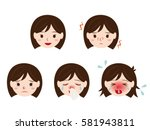 pollen allergy girl's face set | Shutterstock .eps vector #581943811
