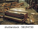Destroyed Piano In An Abandone...