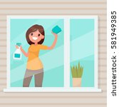 woman housewife wipes dust from ... | Shutterstock .eps vector #581949385