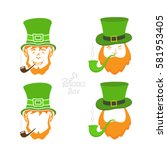 patrick day icons on white... | Shutterstock .eps vector #581953405