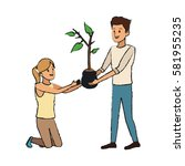 gardener couple icon | Shutterstock .eps vector #581955235