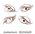 set calligraphic abstract... | Shutterstock .eps vector #581962609
