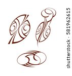 set abstract tattoo.brown  ... | Shutterstock .eps vector #581962615