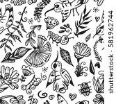 hand drawn seamless pattern... | Shutterstock .eps vector #581962744
