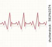 heart pulsating rhythm graph... | Shutterstock . vector #581963374