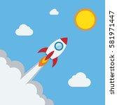 rocket flat design concept for... | Shutterstock .eps vector #581971447
