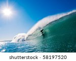 Surfer Getting Barreled In...