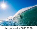 Surfer Getting Barreled In...