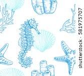 sea life. vector hand drawn... | Shutterstock .eps vector #581975707
