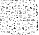spring doodle objects pattern | Shutterstock .eps vector #581976385