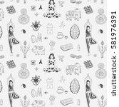 yoga lesson pattern | Shutterstock .eps vector #581976391