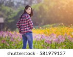 portrait of young beautiful... | Shutterstock . vector #581979127