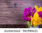 Fresh Purple Tulip  Yellow...