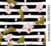trendy seamless spring pattern...   Shutterstock .eps vector #581983861