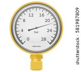 Golden Pressure Gauge On A...