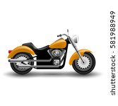 vector yellow motorcycle.... | Shutterstock .eps vector #581988949