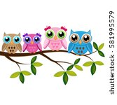 Four Colorful Owls Sitting On...