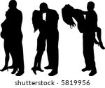 silhouette of young couple in... | Shutterstock .eps vector #5819956