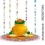 happy ugadi  holiday set ...   Shutterstock .eps vector #582007381