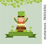 cute cartoon leprechaun on beer ... | Shutterstock .eps vector #582016561