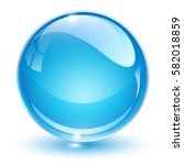 Glass Sphere  Blue 3d Vector...