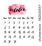 october 2017 calendar with ink... | Shutterstock .eps vector #582020557
