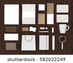 top view of white and carboard...   Shutterstock . vector #582022249