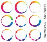 set of 9 circle with irregular... | Shutterstock . vector #582023194