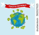 earth with the words peace  ... | Shutterstock .eps vector #582027025