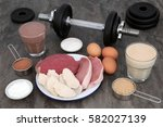 high protein food of meat and... | Shutterstock . vector #582027139