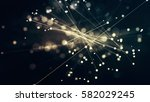 glowing particles and lines... | Shutterstock . vector #582029245