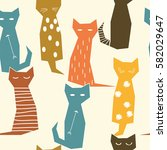 colorful abstract cats.  | Shutterstock .eps vector #582029647