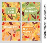 set of funny greeting cards... | Shutterstock .eps vector #582035824