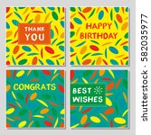 set of funny greeting cards...   Shutterstock .eps vector #582035977