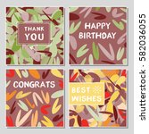 set of funny greeting cards... | Shutterstock .eps vector #582036055