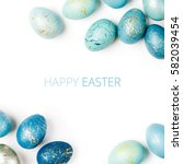 happy easter card. frame  with... | Shutterstock . vector #582039454